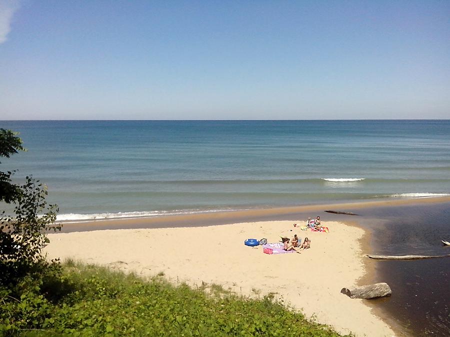 Sunny beach, Lake Michigan