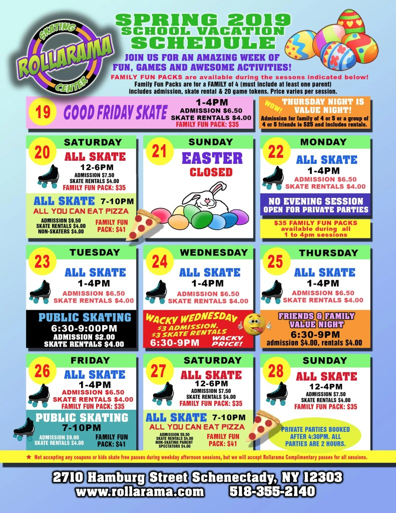 flyer for April Vacation Skating at Rollarama