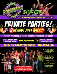 Private Party flyer for Rollarama Skating Center