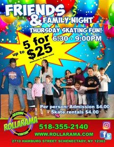 Friends and Family Flyer for Thursday Nights at Rollarama
