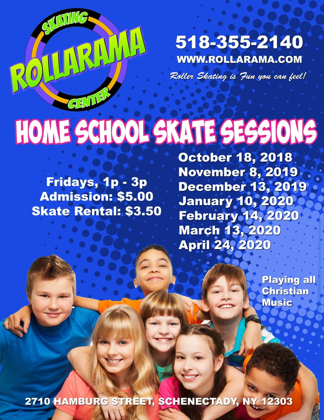 Home School Skate sessions at Rollarama on Fridays 1-3p once a month.