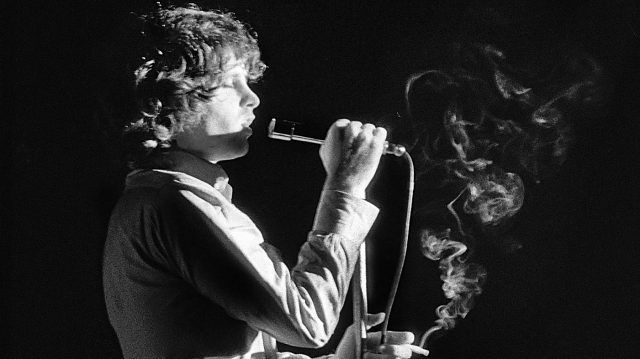 FRANKFURT WEST GERMANY - SEPTEMBER 14: Jim Morrison of the Doors performs live on stage at the Kongresshalle on September 14 1968 in Frankfurt, West Germany. (Photo by Michael Montfort/Michael Ochs Archive/Getty Images)