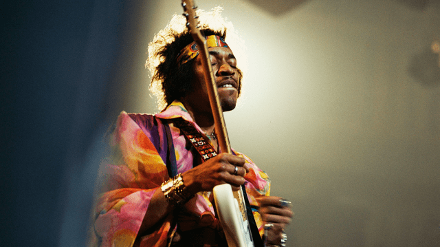 LONDON - FEBRUARY 24: Jimi Hendrix performs on stage at the Royal Albert Hall on February 24th, 1969 in London. Image is part of David Redfern Premium Collection. (Photo by David Redfern/Redferns)
