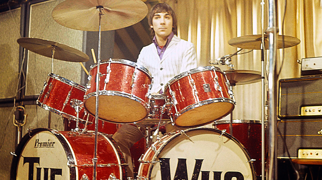 UNITED KINGDOM - MARCH 02: MARQUEE Photo of Keith MOON and The Who, Keith Moon performing live onstage on 'Beat Club' German TV Show, playing double bass drum Premier drum kit, drums (Photo by Jan Olofsson/Redferns)