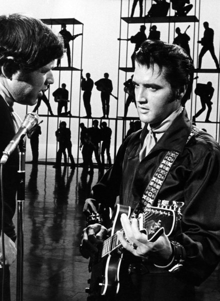 ELVIS: '68 COMEBACK SPECIAL -- Pictured: (l-r) Director Steve Binder, Elvis Presley during his '68 Comeback Special on NBC -- (Photo by: Frank Carroll/Gary Null/NBC/NBCU Photo Bank via Getty Images)