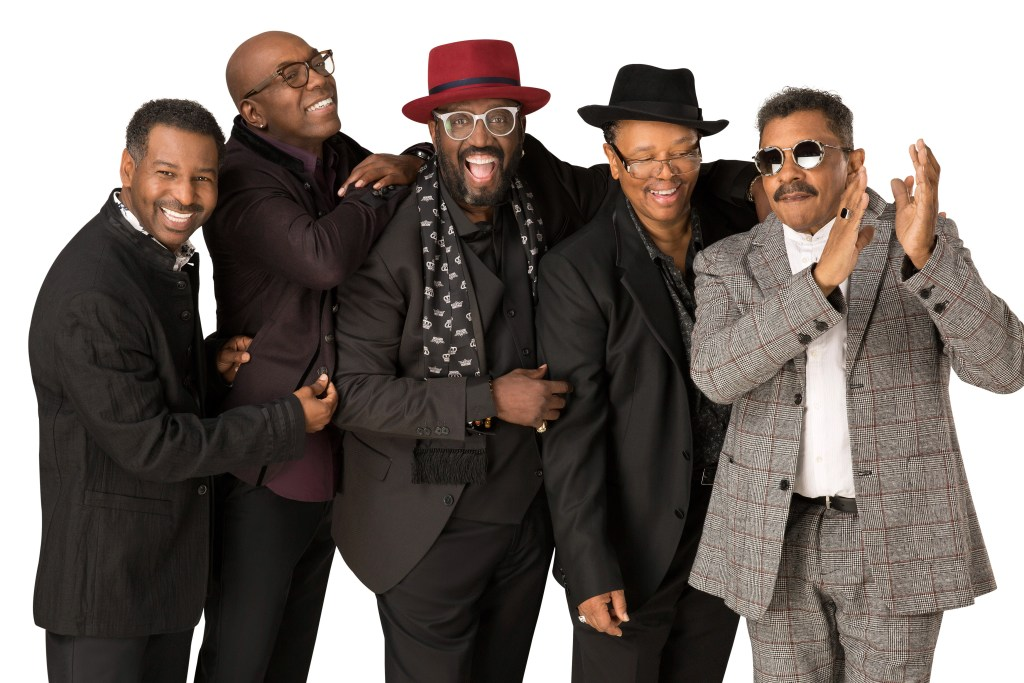The current lineup of the Temptations; Terry Weeks, Larry Braggs, Otis Williams, Willie Greene and Ron Tyson.