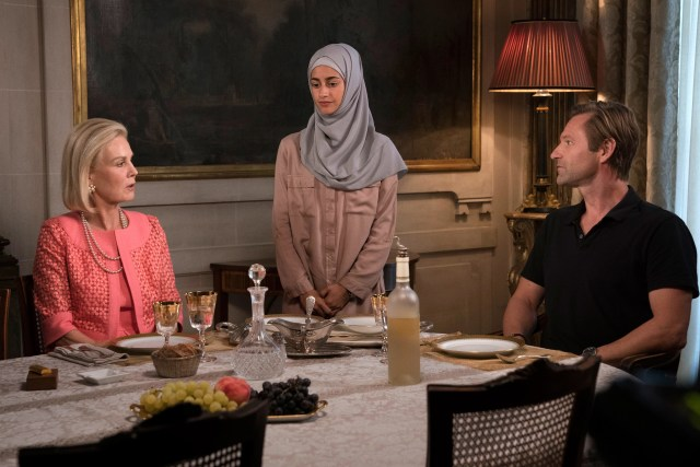 "Marthe Keller, Ines Melab, and Aaron Eckhart in ""The Romanoffs"""