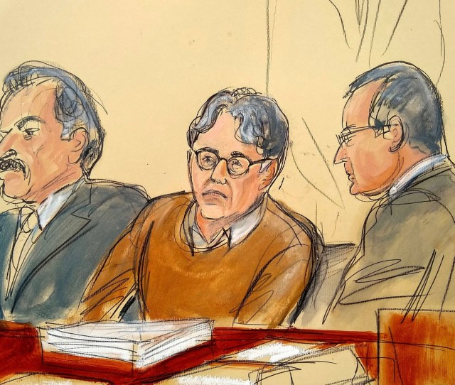 In This Courtroom Drawing Defendant Keith Raniere Center Is Seated Between His Attorneys