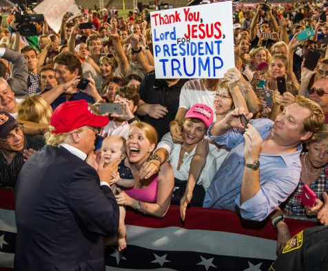 MOBILE, AL- AUGUST 21: Republican presidential candidate Donald Trump greets supporters after his rally at Ladd-Peebles Stadium on August 21, 2015 in Mobile, Alabama. The Trump campaign moved tonight's rally to a larger stadium to accommodate demand. (Photo by Mark Wallheiser/Getty Images)