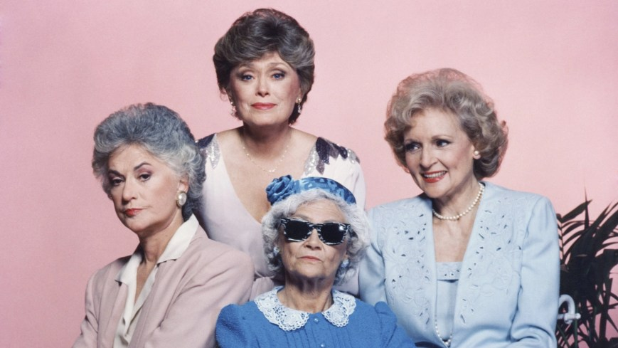 THE GOLDEN GIRLS -- Season 1 -- Pictured: (l-r) Bea Arthur as Dorothy Petrillo Zbornak, Rue McClanahan as Blanche Devereaux, Estelle Getty as Sophia Petrillo, Betty White as Rose Nylund-- Photo by: