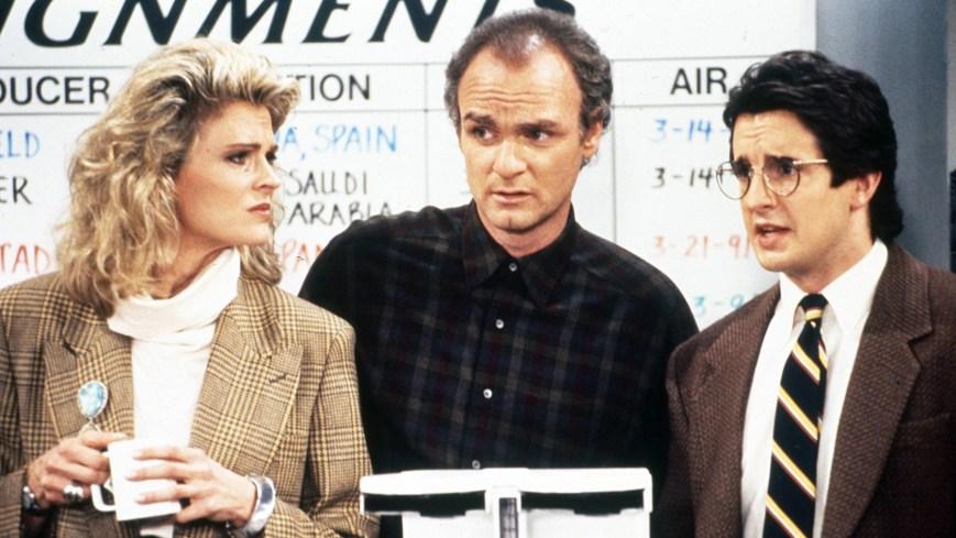 MURPHY BROWN, from left: Candice Bergen, Joe Regalbuto, Grant Shaud, (1992), 1988–2018. ph: Richard Cartwright /© CBS /Courtesy Everett Collection