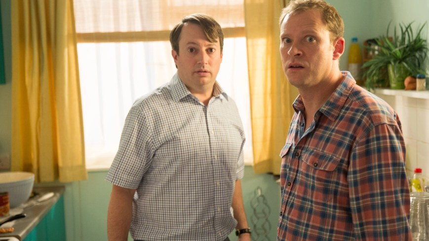 PEEP SHOW, (from left): David Mitchell, Robert Webb, 'Threeism', (Season 9, ep. 903, aired Nov. 25, 2015). photo: Angus Young / © Channel 4 / Courtesy: Everett Collection