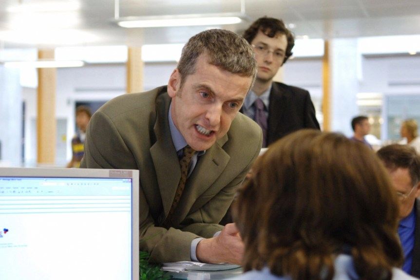 THE THICK OF IT, (from left): Peter Capaldi, Chris Addison, (Season/Series 2), 2005-2012. photo: Andy Paradise / © BBC / Courtesy: Everett Collection