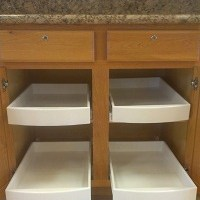 sliding shelves or roll out drawers