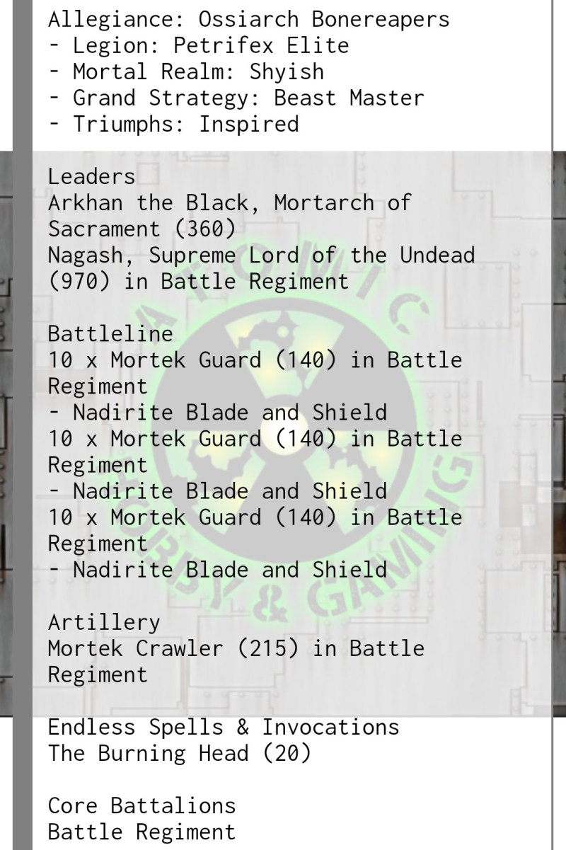 Bonereapers 3rd edition tournament list