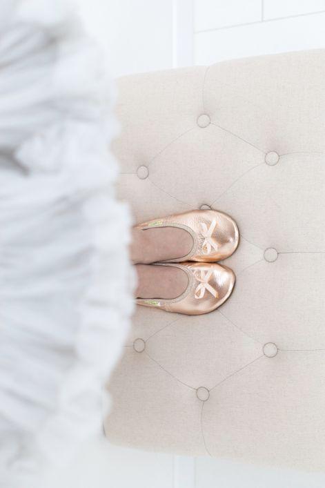 Solski copati ballerina rose gold deklice