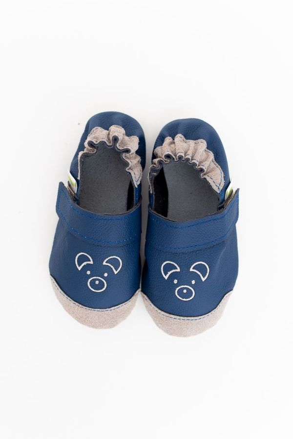 Rolly slippers nonslip outsole mini bear navy blue toddler