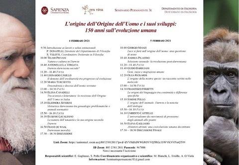 L'origine dell'Uomo e i suoi sviluppi: Convegno dell'Università La Sapienza – 4 e 5 febbraio 2021