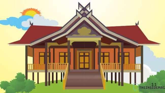 Gambar Konstruksi Rumah Adat Kajang Leko