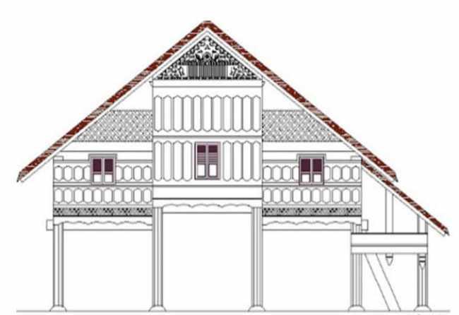 Ilustrasi Konstruksi Bangunan Rumah Adat Aceh