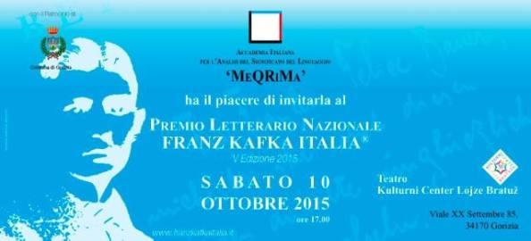 PREMIO LETTERARIO NAZIONALE FRANZ KAFKA ITALIA ® V° EDIZIONE 2015