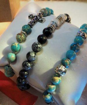 Bracelet artisanal pour homme, en perles d'Arménie