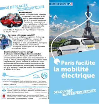 Dépliant Paris facilite la mobilité électrique vélo scooter