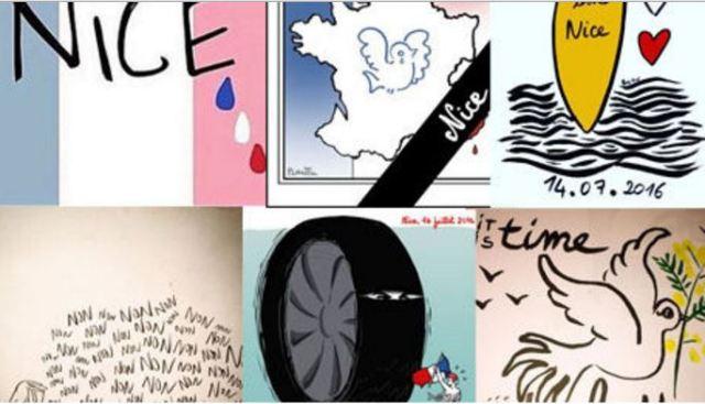 Hommage des dessinateurs - Attentat Nice 14 juillet 2016