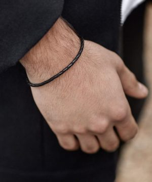 Look bracelet fin en cuir homme