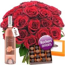 Roses Saint Valentin et coffret gourmand