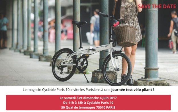 Test vélo pliant Fête du Vélo magasin Cyclable PARIS 10