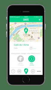 Application smartphones géolocalisation recharge de batterie