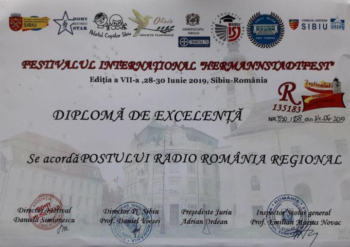 20190925_111307.Diploma de Excelenta Radio Romania Regional de la Hermannstadtfest2019 (foto by Bogdan Dragomir)