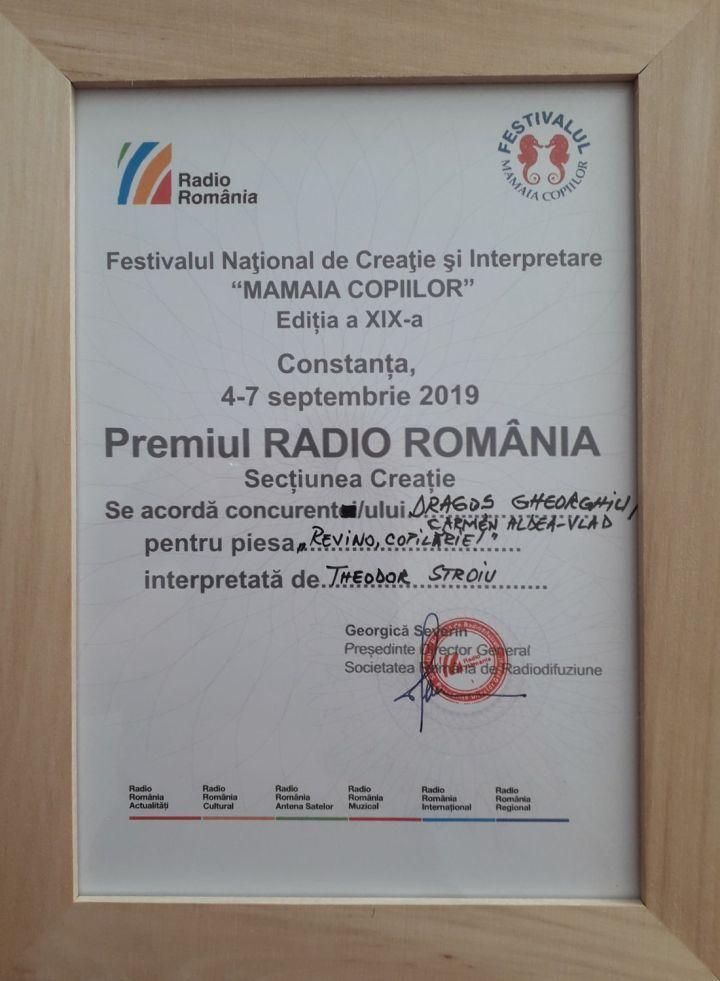 Diploma Premiul Radio Romania - Creație Mam. Cop. 2019 - Dragos Gheorghiu.1100 (foto by Bogdan Dragomir)