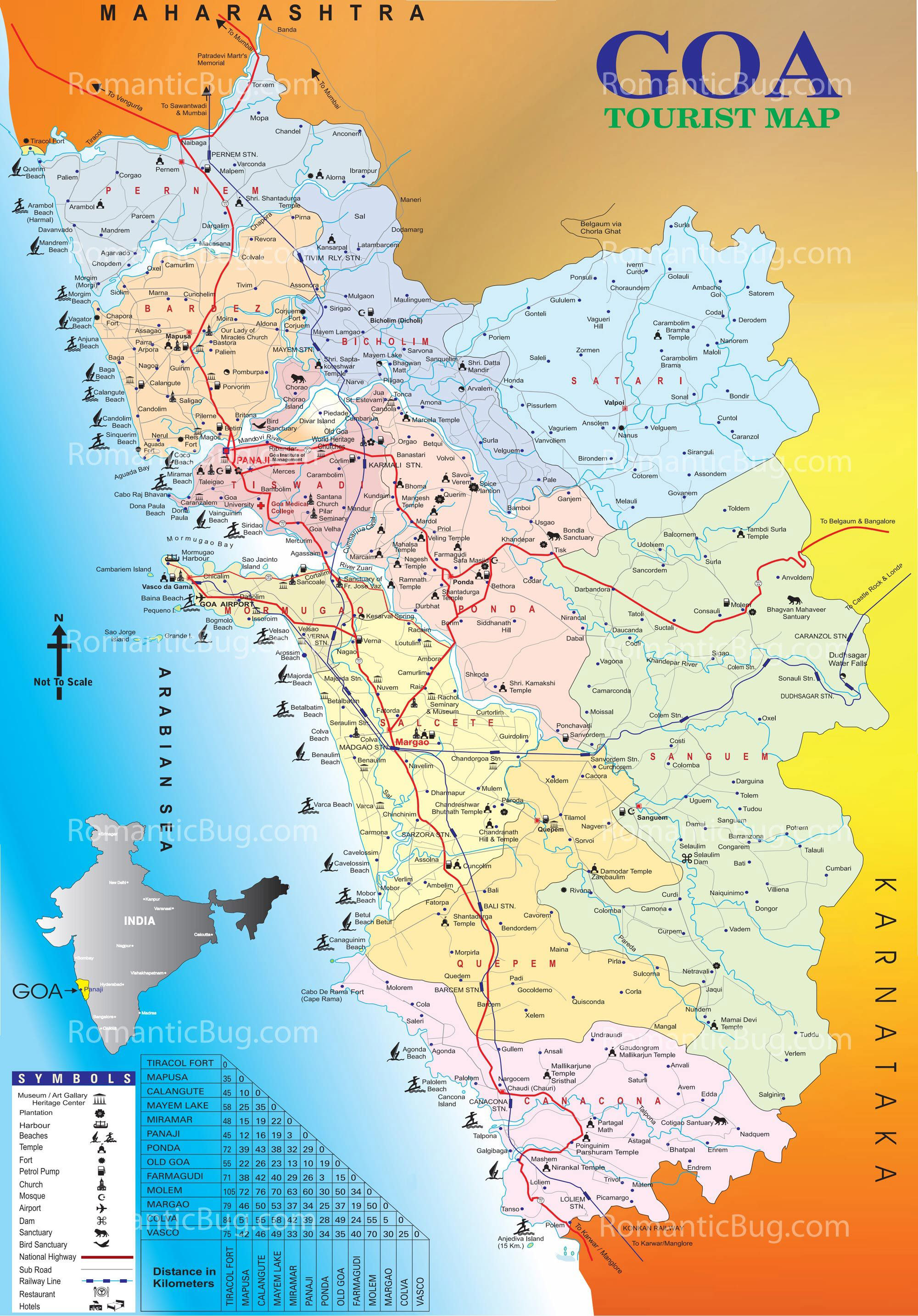 download free tourist map of goa  complete goa tourism map - complete tourist map of goa