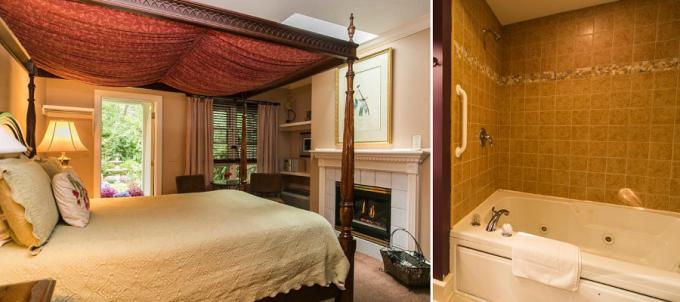 A Fireplace Hot Tub Suite in Hidden Garden Cottages & Suites,Saugatuck, Michigan