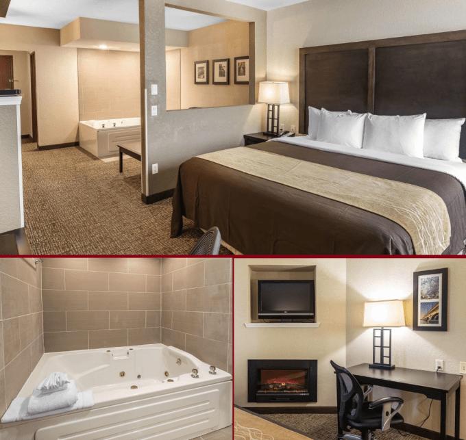 Jacuzzi Fireplace Suite in Comfort Inn & Suites Allen Park,Detroit, Michigan