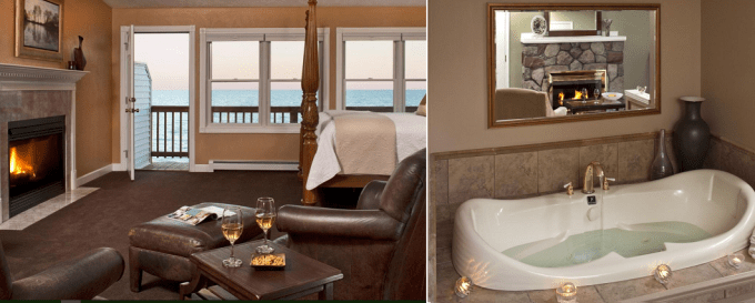 Room with Jacuzzi and Fireplace in Huron House Oscoda, Michigan - On Lake Huron