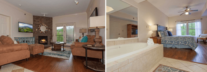 Suite with Jacuzzi and Fireplace in Baskins Creek Condos by Wyndham Gatlinburg