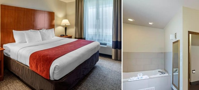 King Suite with 2-Person Whirlpool In Comfort Suites North Dallas Hotel