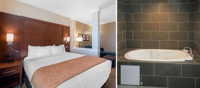 Suite with 2-peron hot tub in the room in Comfort Suites Denver International Airport Hotel