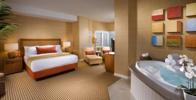 Hot tub suite in the room in Tropicana Las Vegas a DoubleTree by Hilton Hotel and Resort