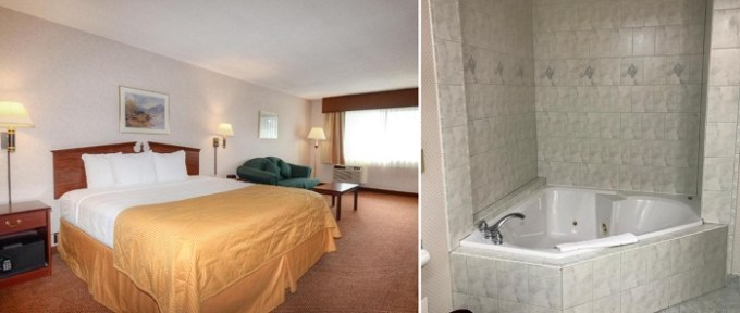 A King suite with a whirlpool tub in the room in Clarion Hotel Seatac Intl. Airport, Washington state
