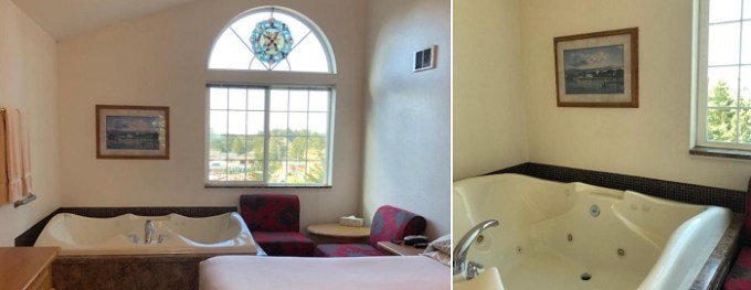 In-room hot tub in The Landmark Inn, Florence, Oregon Coast