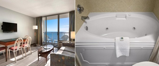Suite with a whirlpool tub in Crown Reef Beach Resort and Waterpark, SC