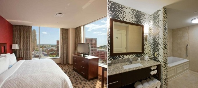 Suite with a whirlpool tub in Embassy Suites Buffalo, NY