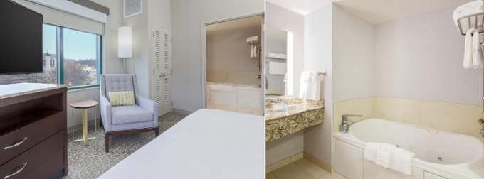 Suite with a whirlpool tub in the room in Hilton Garden Inn Shirlington, near Washington DC
