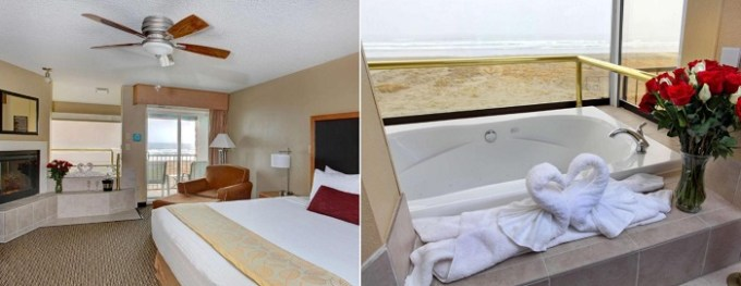 Whirlpool suite with fireplace in Best Western Plus Ocean View Resort - Seaside, Oregon Coast