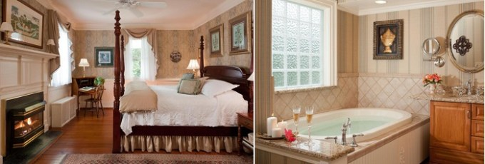 Jacuzzi suite with a fireplace in Arrowhead Inn, Durham, near Raleigh, NC