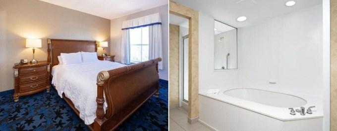 Suite with a whirlpool tub in the room in Hampton Inn & Suites Jacksonville Deerwood Park, FL